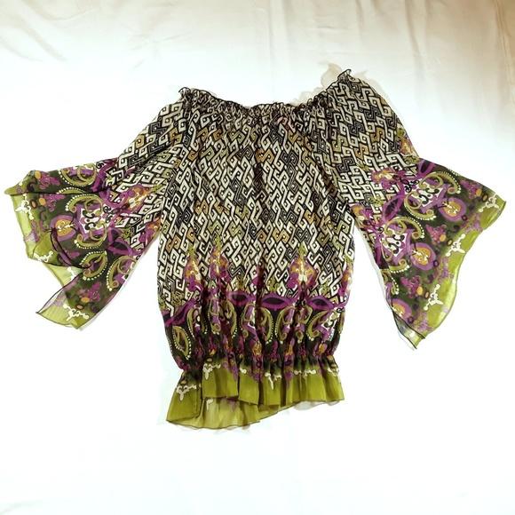 Sunny Leigh Tops - Bell Sleeve Blouse Hippie Boho Peasant Top